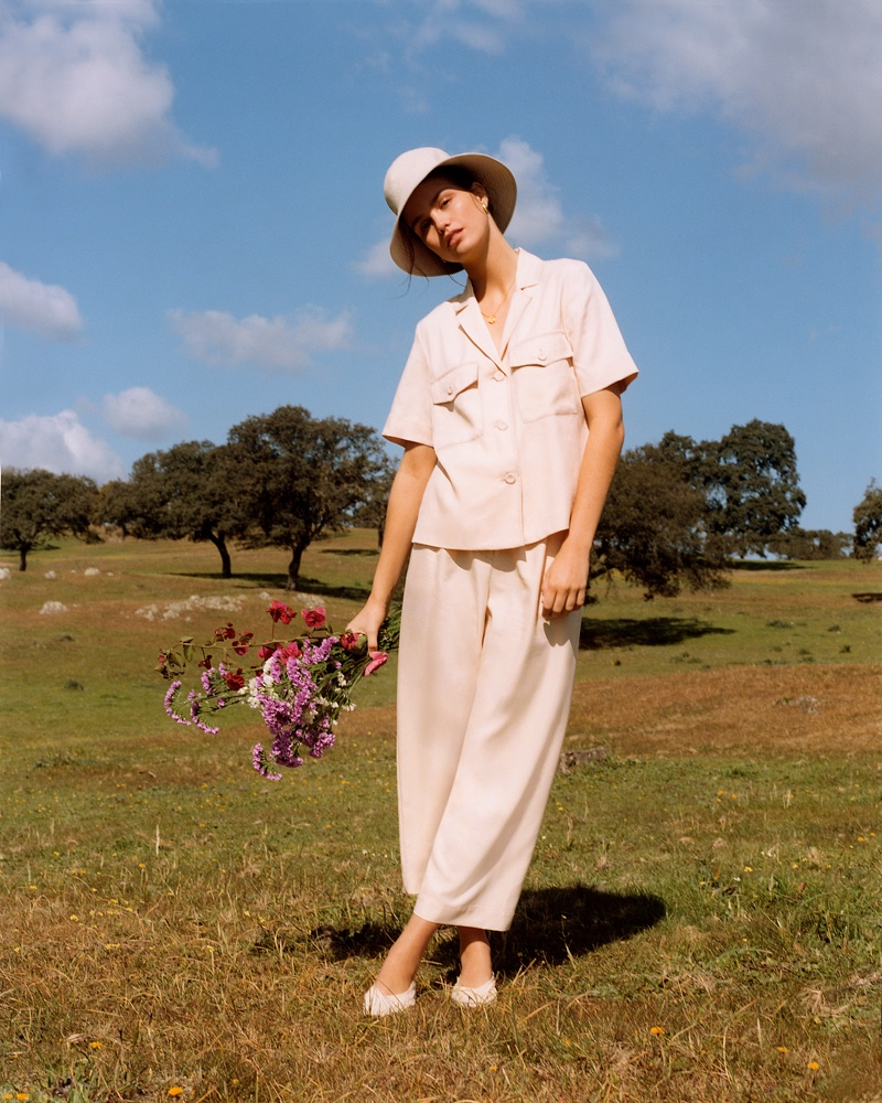 Mango Pocket Shirt, Pleat Straight Trousers, Bucket Hat and Braided Flats