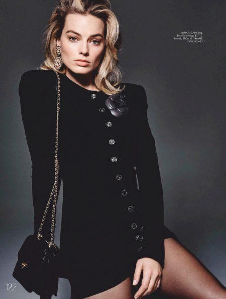 Dressed in tweed, Margot Robbie wears all black ensemble