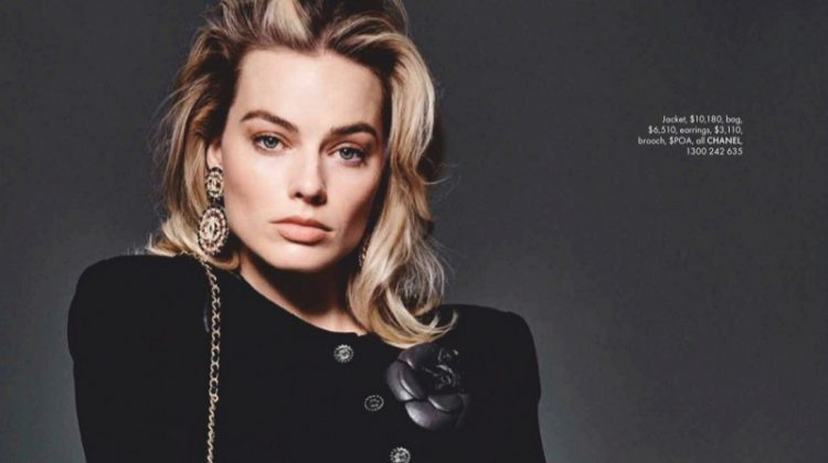 Dressed in tweed, Margot Robbie wears all black ensemble