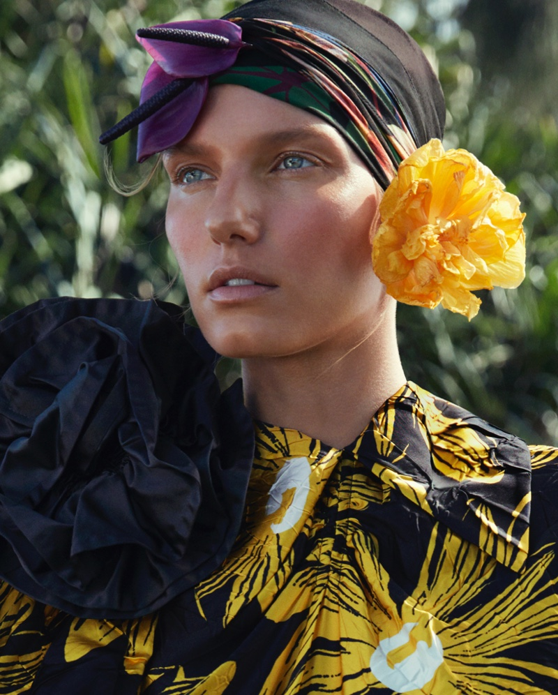 Marique Schimmel Wears Tropical Prints for How to Spend It Magazine