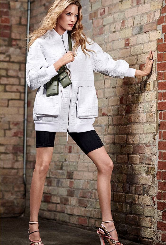 Martha Hunt poses in Fendi look from Holt Renfrew