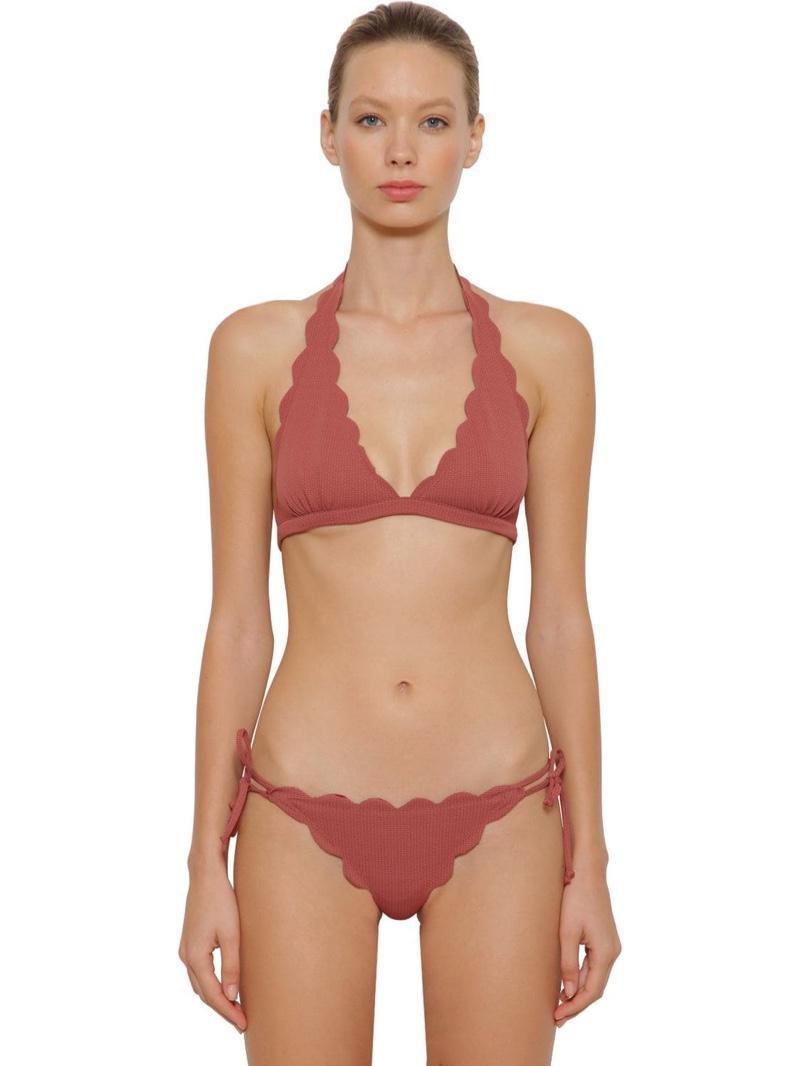 Marysia Spring Triangle Bikini Top $150 and Mott Bikini Bottoms with Ties $149
