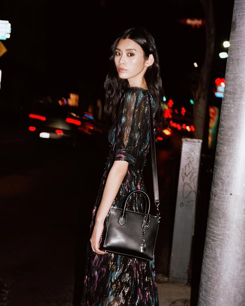Ming Xi poses in Ming by The Kooples spring 2019 campaign