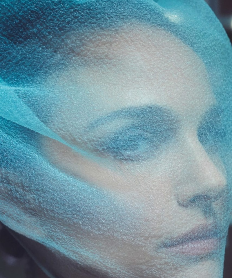 Ready for her closeup, Natalie Portman poses with Marc Jacobs veil