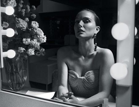 Natalie Portman wears Zac Posen top with Dior earring