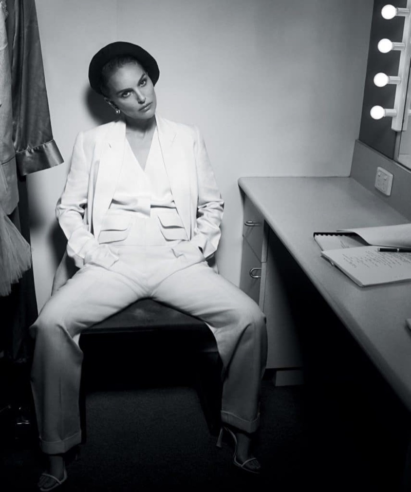 Suiting up, Natalie Portman wears Victoria Victoria Beckham look with Dior beret and heels