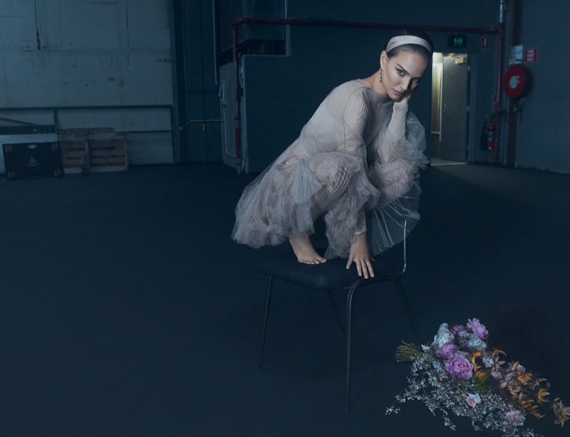 Actress Natalie Portman poses in Dior look