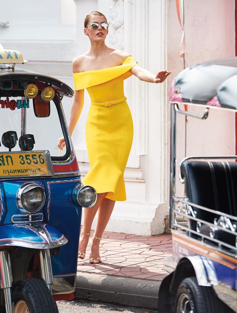 Madison Headrick models Badgley Mischka dress in Neiman Marcus Art of Travel campaign