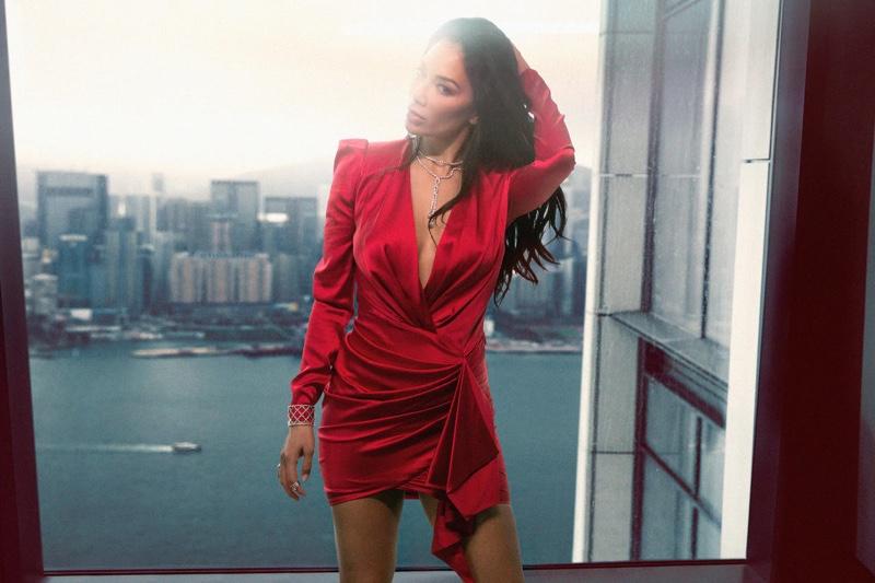 Looking red-hot, Nicole Scherzinger poses in wrap dresses