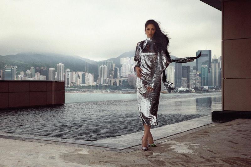 Singer Nicole Scherzinger wears 16Arlington silver sequin dress