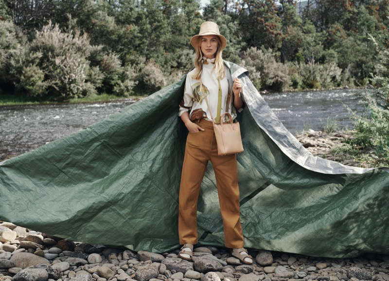Posing outdoors, Vanessa Axente appears in Oroton winter 2019 campaign