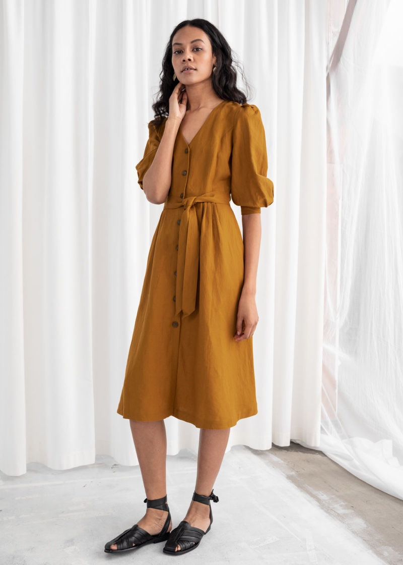 & Other Stories Belted Linen Blend Midi Dress $119