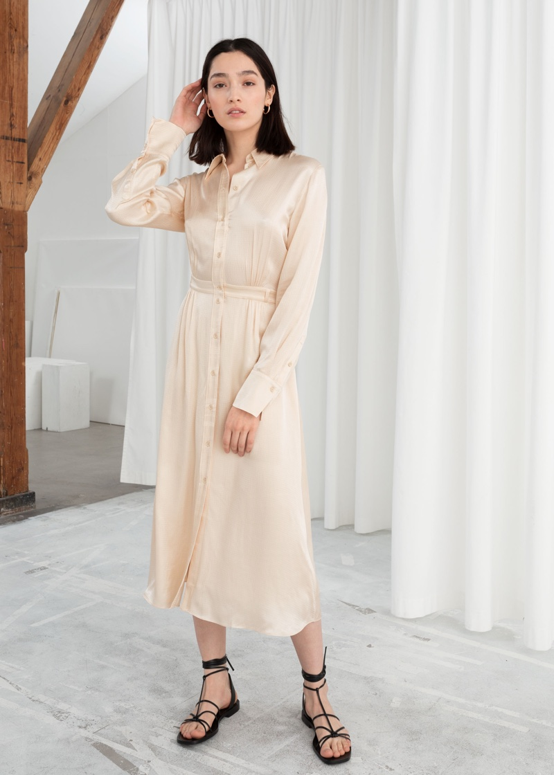 & Other Stories Belted Satin Midi Dress $119