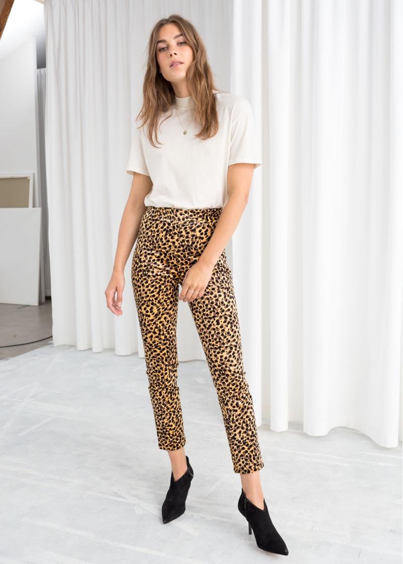 & Other Stories Corduroy Leopard Print Pants $99
