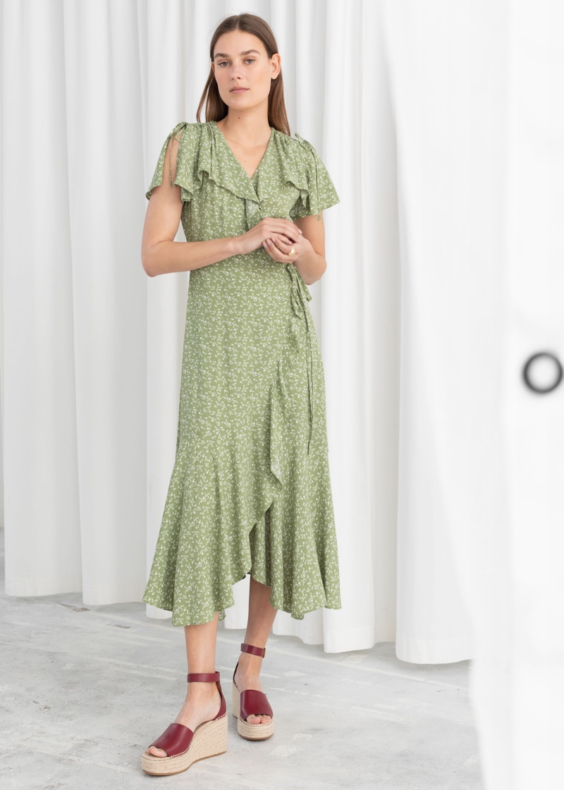 & Other Stories Floral Handkerchief Wrap Midi Dress $99
