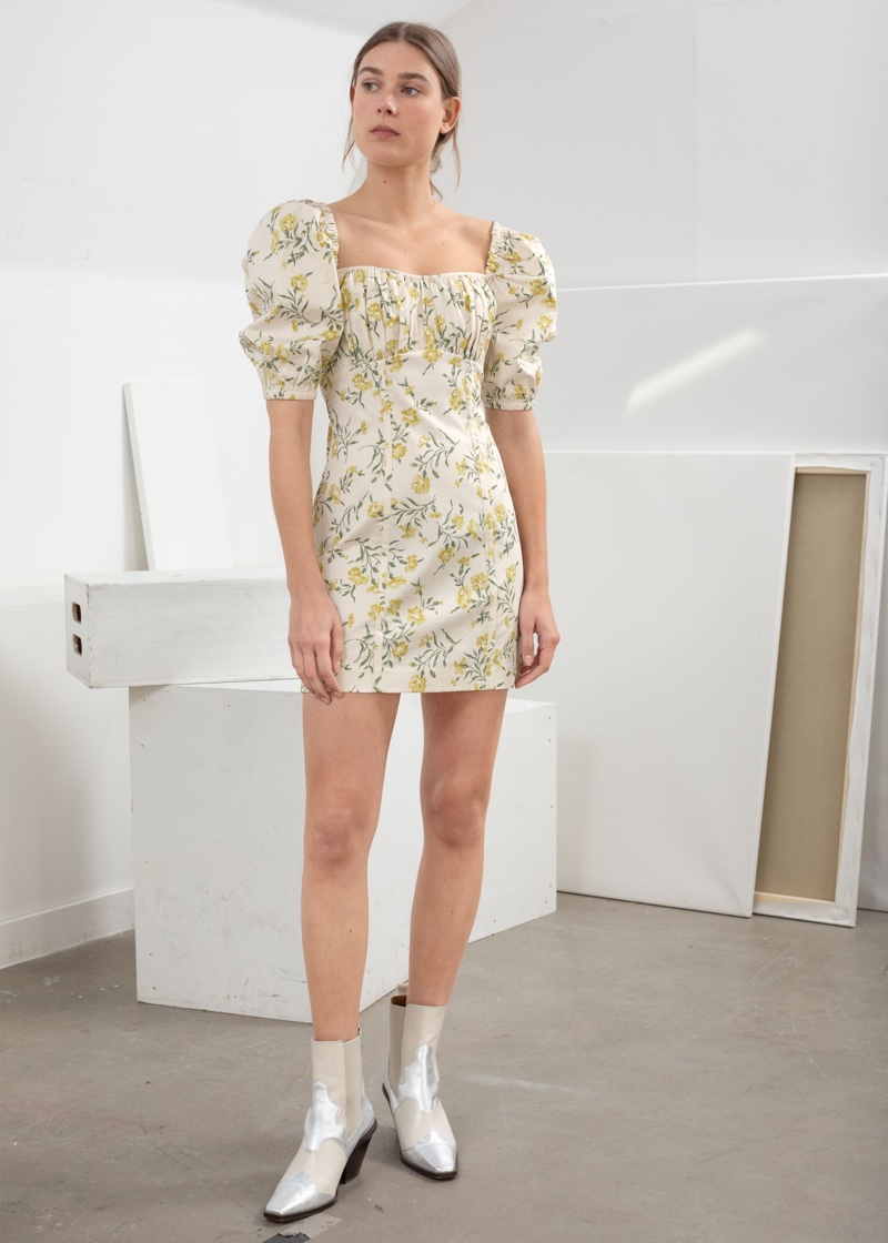 & Other Stories Floral Puff Sleeve Mini Dress $89