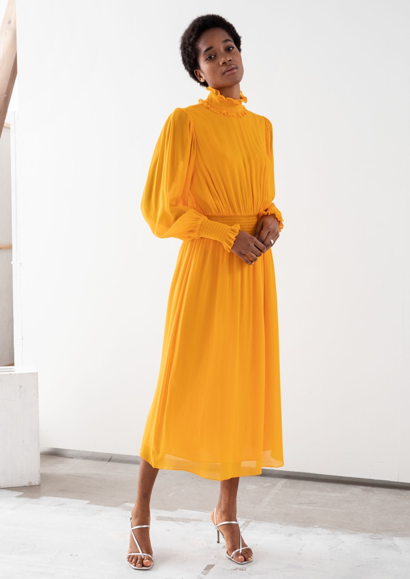 & Other Stories High Neck Ruched Midi Dress $129