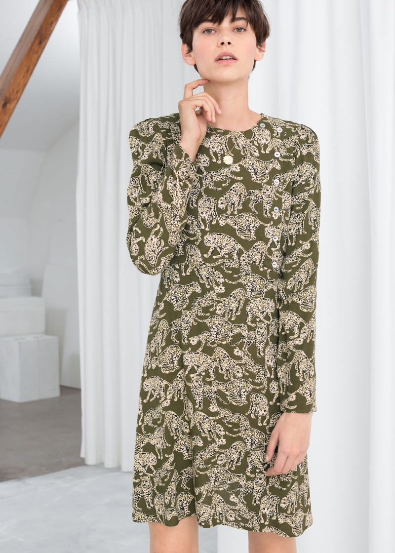 & Other Stories Leopard Print Mini Dress $69