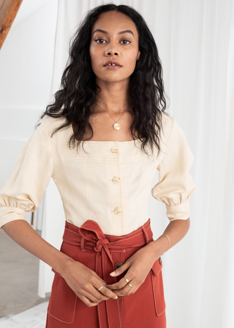 & Other Stories Linen Blend Square Neck Top $89