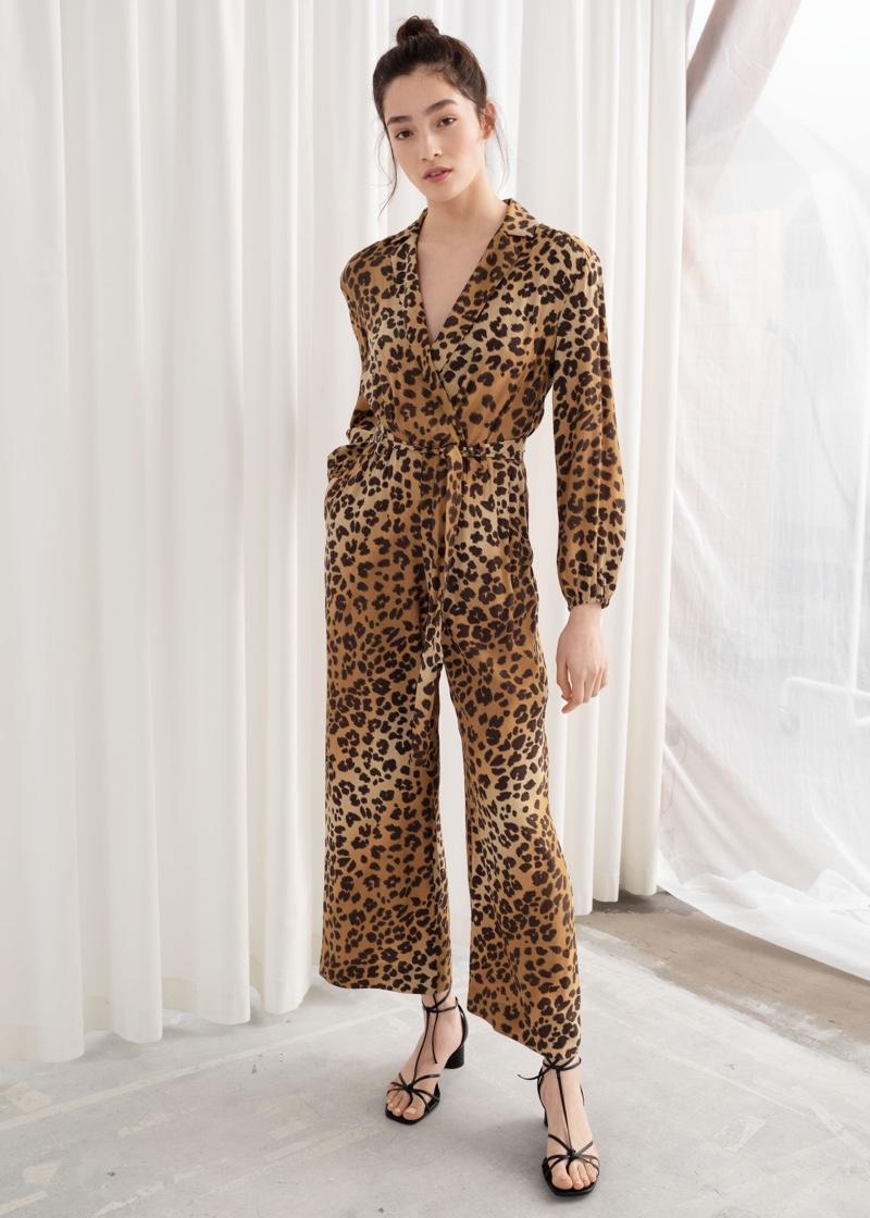 & Other Stories Long Sleeve Leopard Print Jumpsuit $129
