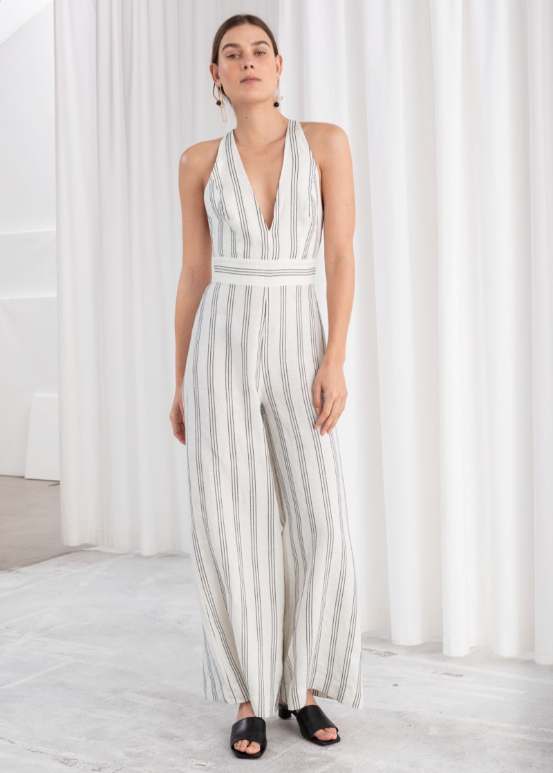 & Other Stories Plunging Linen Blend Jumpsuit $129