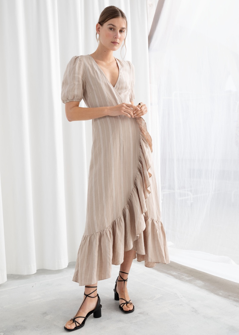 & Other Stories Ruffled Linen Wrap Midi Dress $139