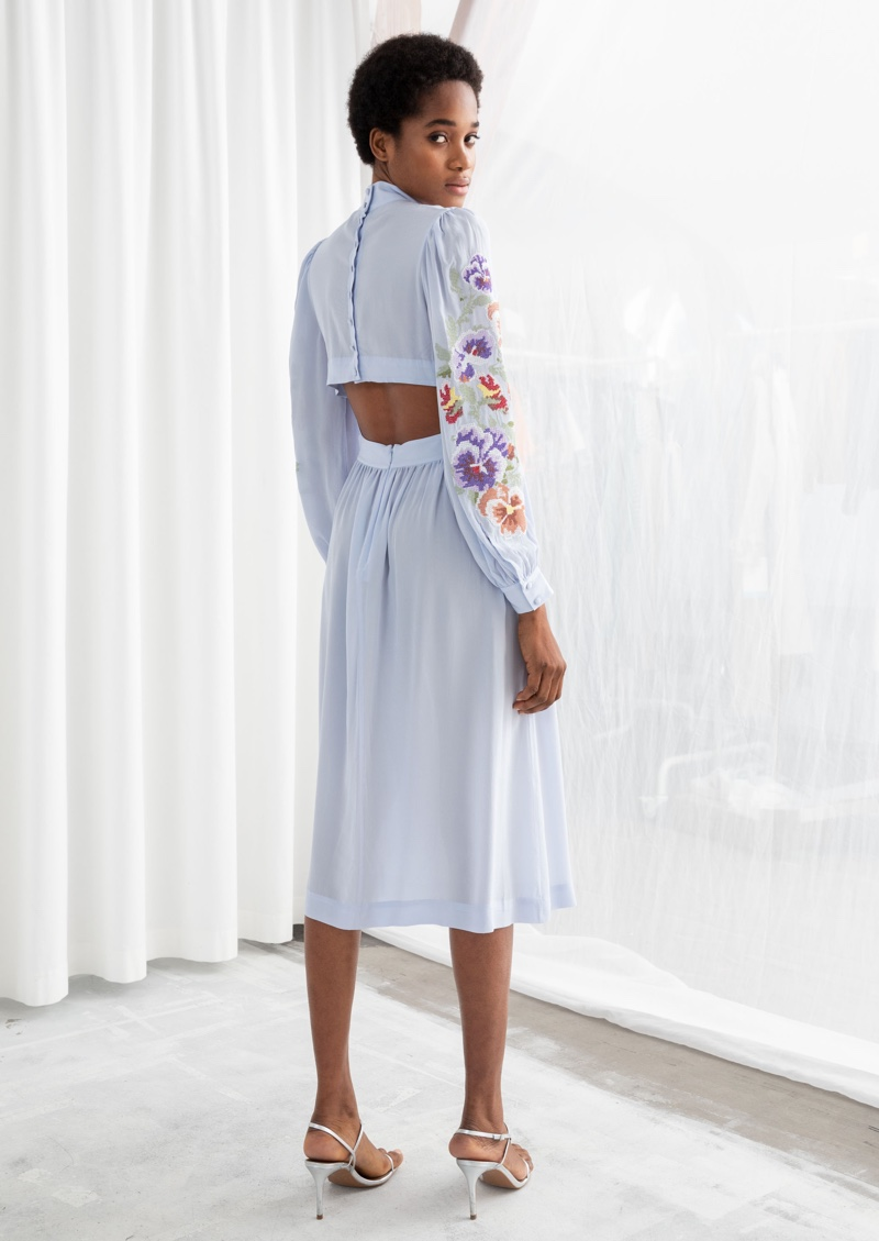 & Other Stories Sheer Floral Embroidered Midi Dress $149