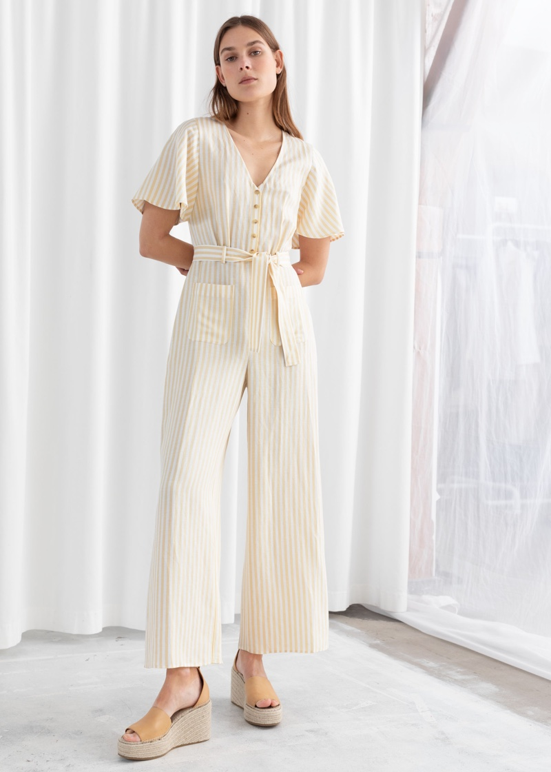 & Other Stories Striped Linen Blend Jumpsuit $99