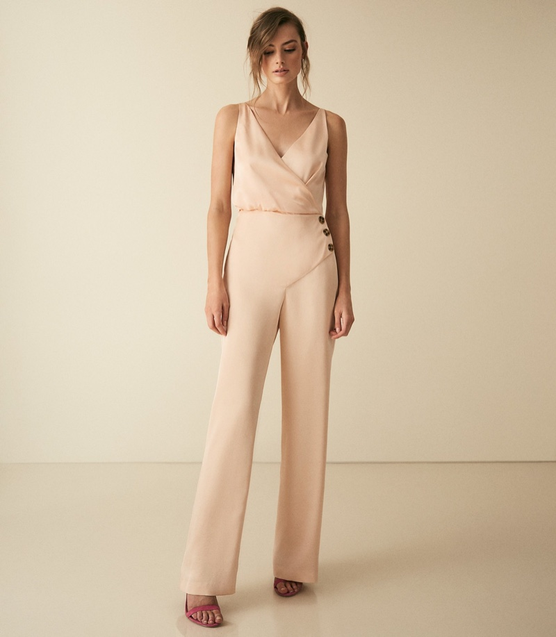 REISS Antonia Button Detail Jumpsuit in Gold $425