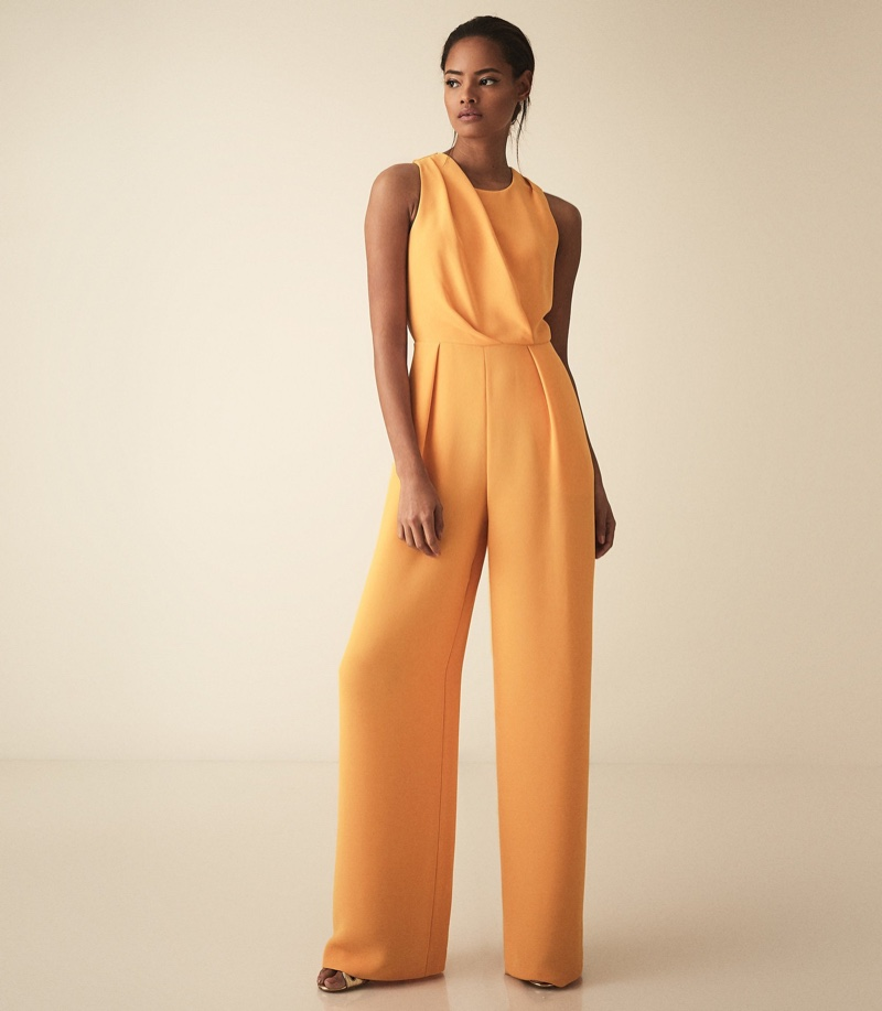 REISS Chey Cut Out Detail Jumpsuit in Orange $425