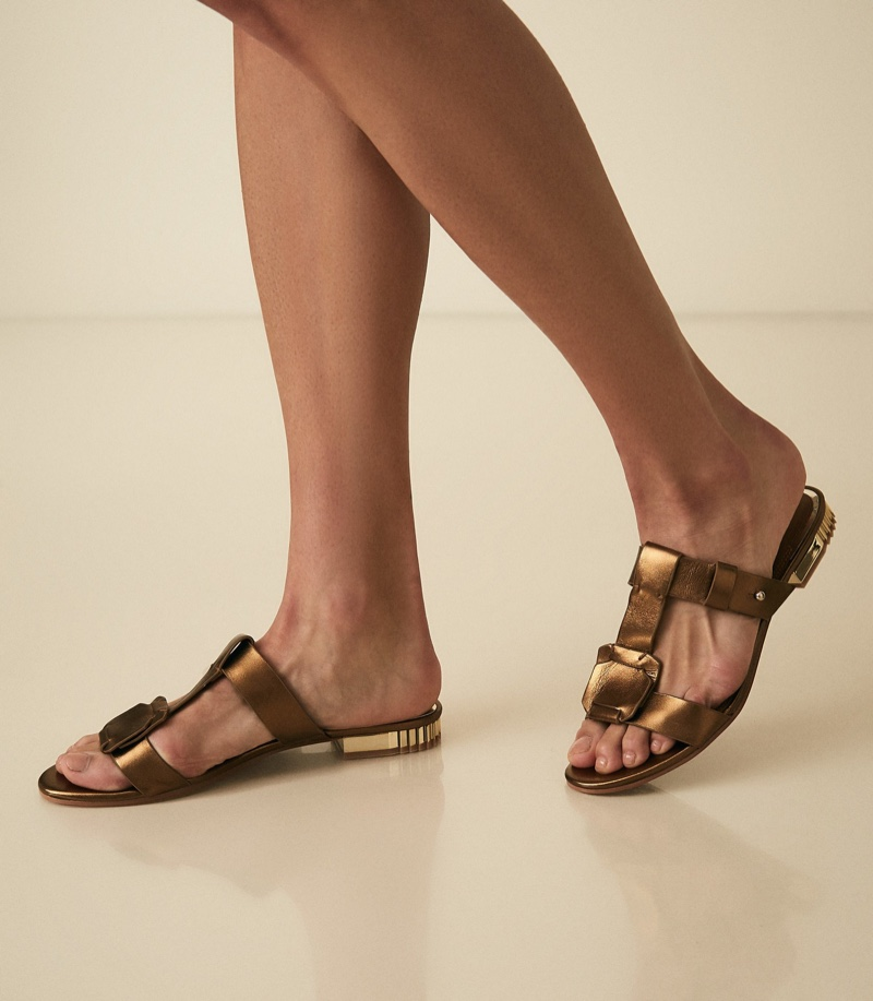 REISS Dilone Leather Flat Strappy Sandals in Gold $220