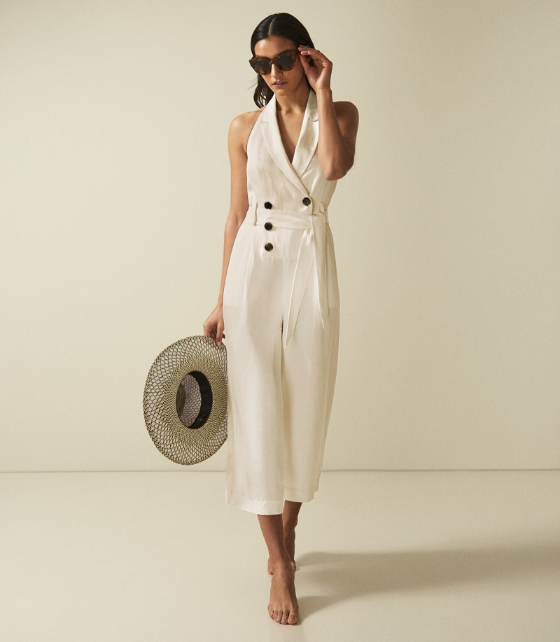 REISS Giovanna Halterneck Jumpsuit in Buttermilk $345
