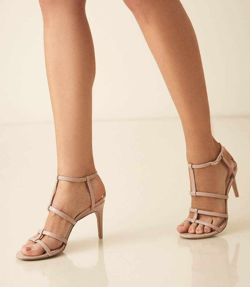 REISS Harlow T-Bar Strappy Sandals in Taupe $265