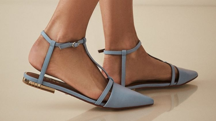 REISS Olivia Leather T-Bar Flats in Cornflower Blue $230