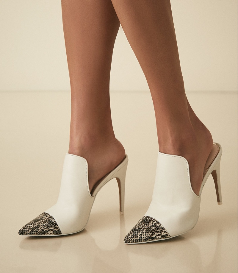 REISS Spark Snake Print Heeled Mules in White $370