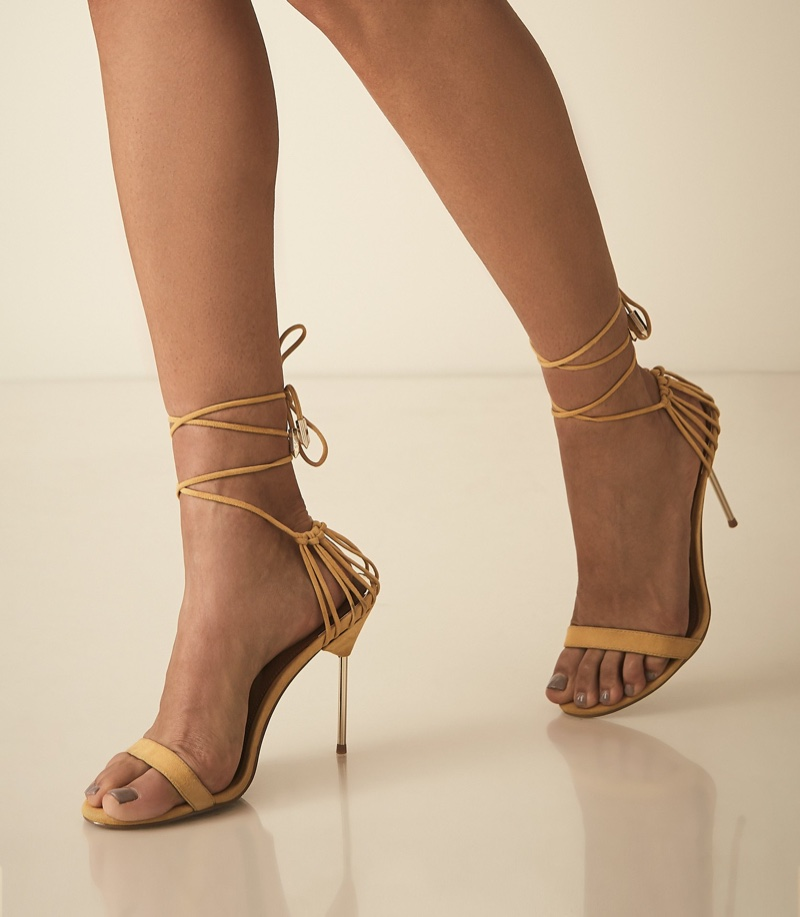 REISS Zhane Suede Strappy Wrap Sandals in Mango $345