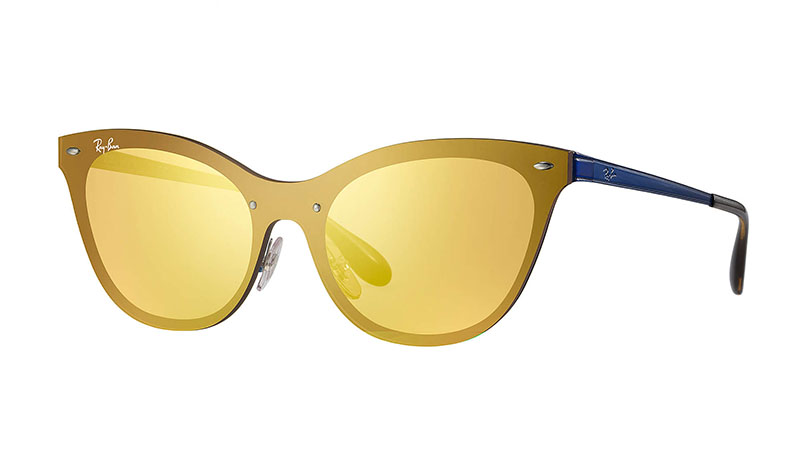 Ray-Ban Blaze Cat Eye Sunglasses in Blue with Dark Orange Mirror Lenses $198