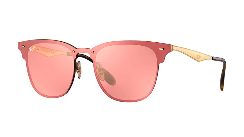 Ray-Ban Blaze Clubmaster Sunglasses in Gold with Pink Mirror Lenses $198