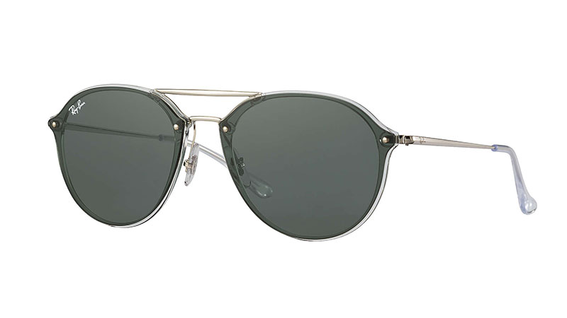 Ray-Ban Blaze Double Bridge Sunglasses in Transparent/Silver with Green Classic Lenses $173