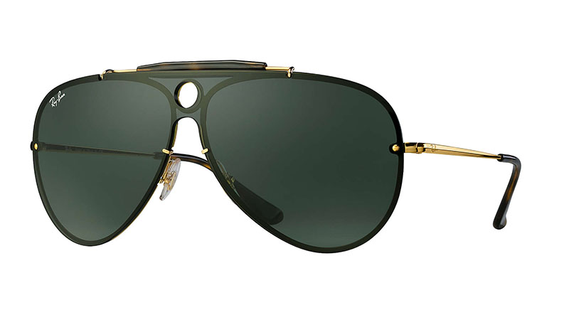 Ray-Ban Blaze Shooter Sunglasses in Gold with Green Classic $173