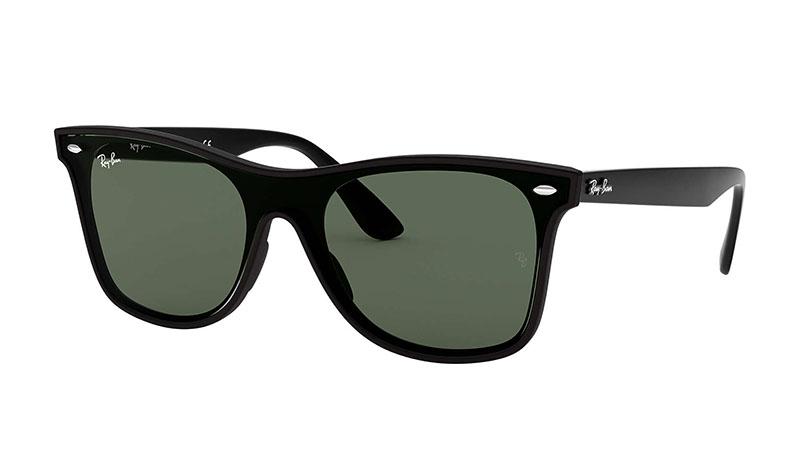 Ray-Ban Blaze Wayfarer Sunglasses in Black with Green Classic Lenses $162