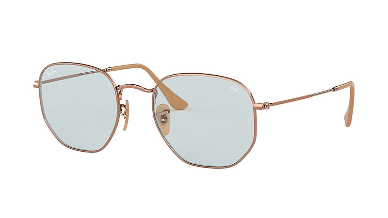 Ray-Ban Hexagonal Evolve Sunglasses in Copper with Light Blue Photocromic Lenses $183