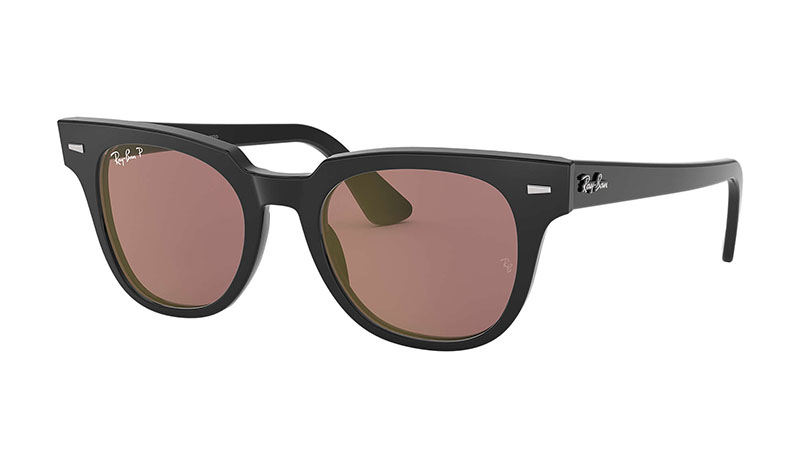 Ray-Ban Meteor Classic Sunglasses in Black with Purple Classic Lenses $223