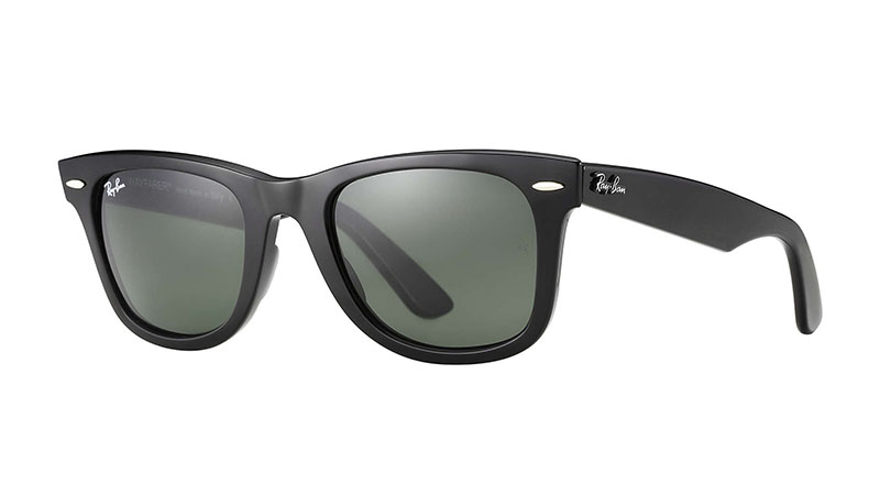 Ray-Ban Original Wayfarer Classic Sunglasses in Black with Green Classic Lenses $153