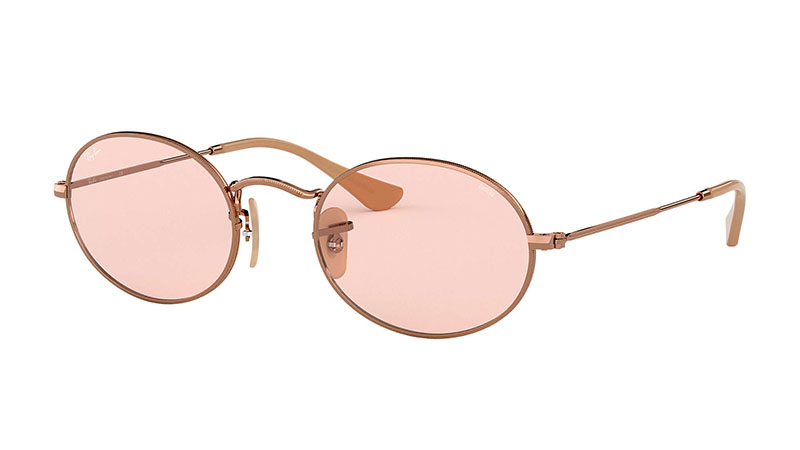 Ray-Ban Oval Evolve Sunglasses in Copper with Pink Photocromic Lenses $183