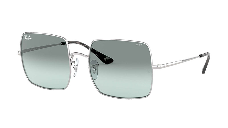 Ray-Ban Square Evolve Sunglasses in Silver with Light Blue Photocromic Lenses $183