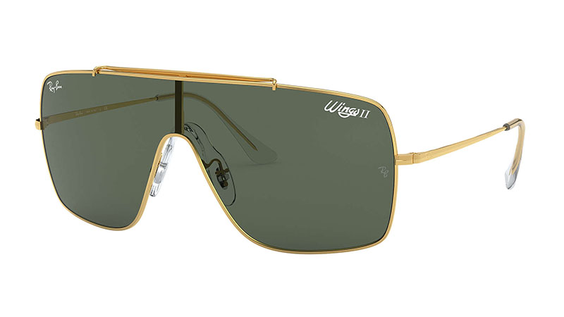 Ray-Ban Wings II Sunglasses in Gold with Green Classic Lenses $173