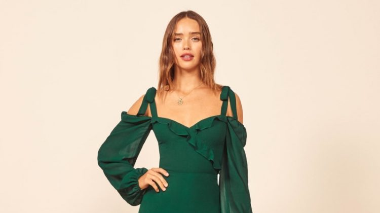 Reformation Breeze Dress in Emerald $248