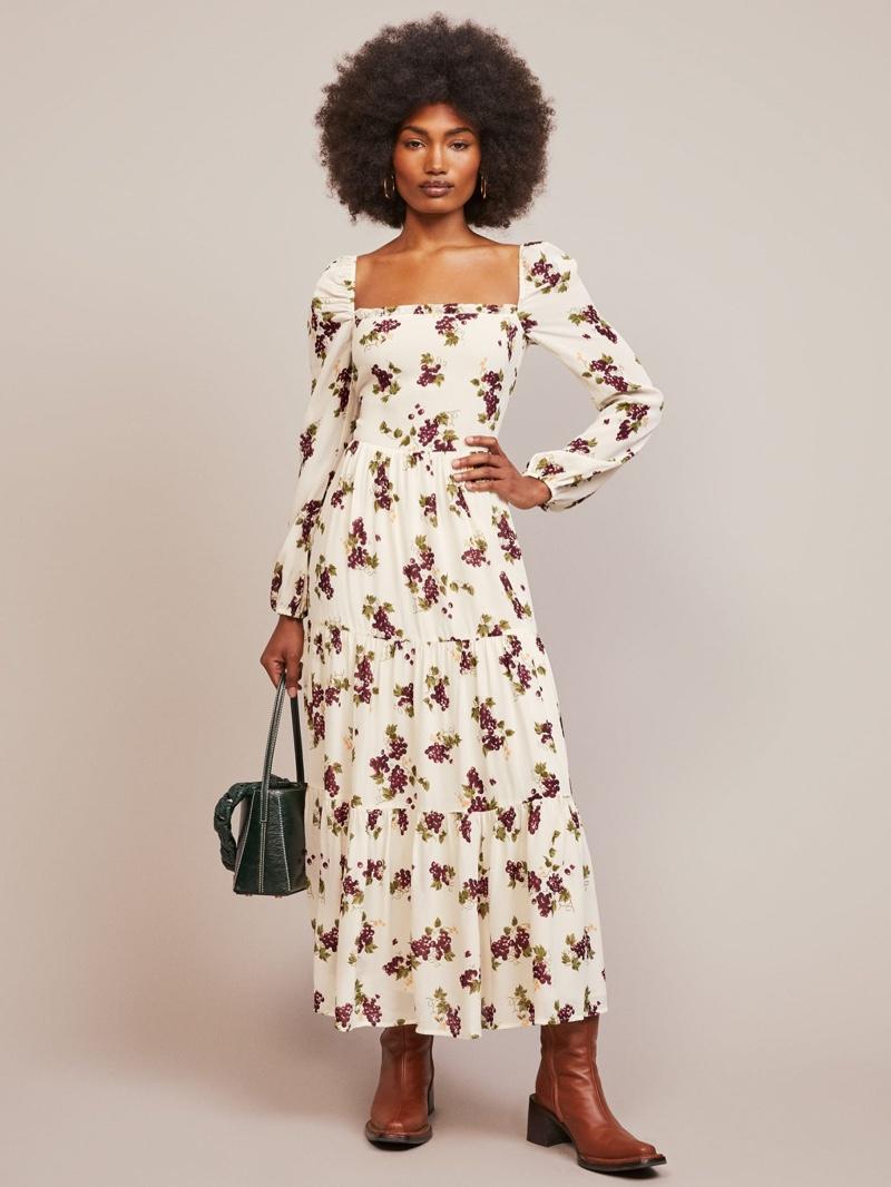Reformation Kellie Dress in Grapevine $248
