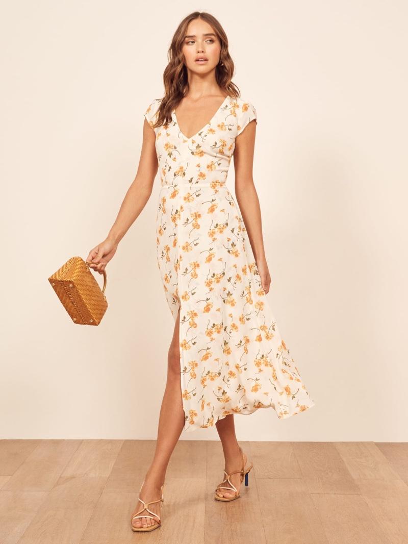 Reformation Wellfleet Dress in Limonada $218